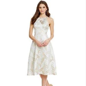 Eva Franco Gold Silver Halter Jack Fit Flare Dress